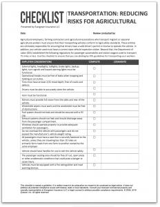 Image of Transporting Agricultural Workers downloadable checklist
